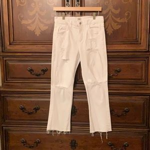 White C of H distressed crop flare jeans